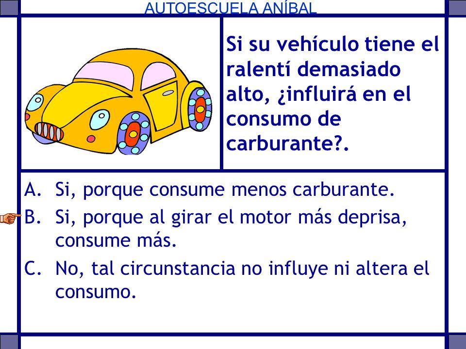 AUTOESCUELA ANÍBAL Si su vehículo tiene el ralentí demasiado alto, ¿influirá en el consumo de carburante?. A.Si, porque consume menos carburante. B.Si