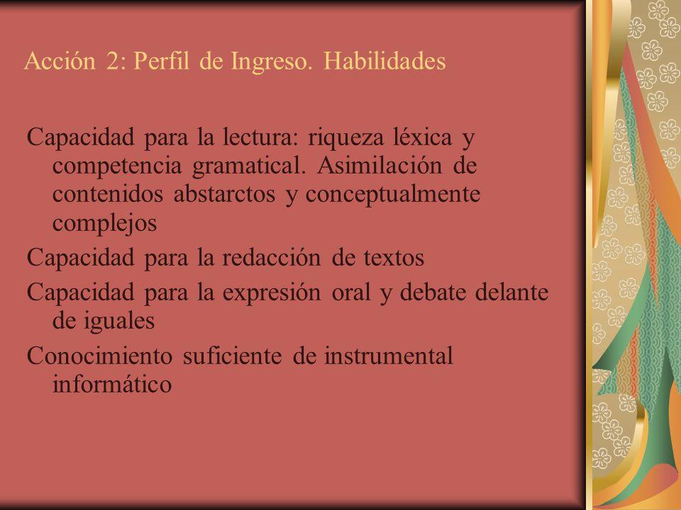 Acción 2: Perfil de Ingreso. Habilidades Capacidad para la lectura: riqueza léxica y competencia gramatical. Asimilación de contenidos abstarctos y co