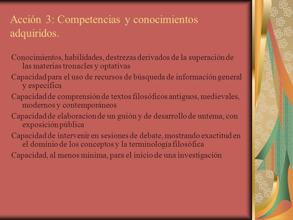 Acción 3: Competencias y conocimientos adquiridos. Conocimientos, habilidades, destrezas derivados de la superación de las materias tronacles y optati