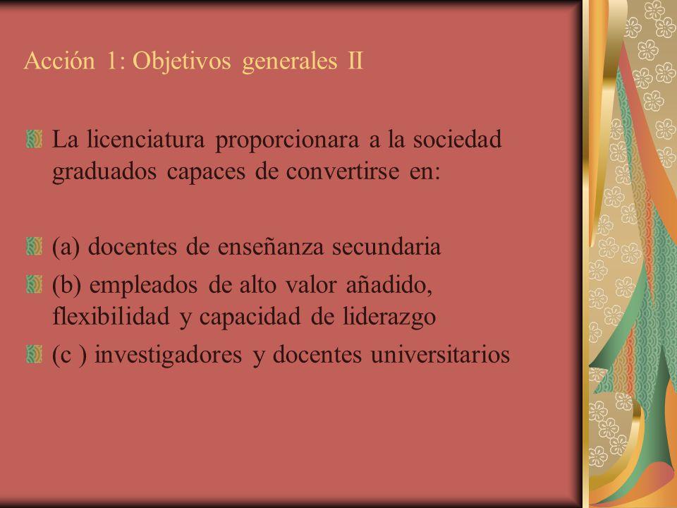 Acción 1: Objetivos generales II La licenciatura proporcionara a la sociedad graduados capaces de convertirse en: (a) docentes de enseñanza secundaria