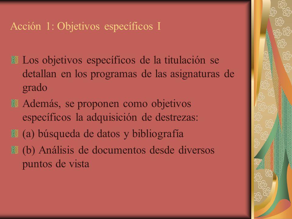 Acción 1: Objetivos específicos I Los objetivos específicos de la titulación se detallan en los programas de las asignaturas de grado Además, se propo