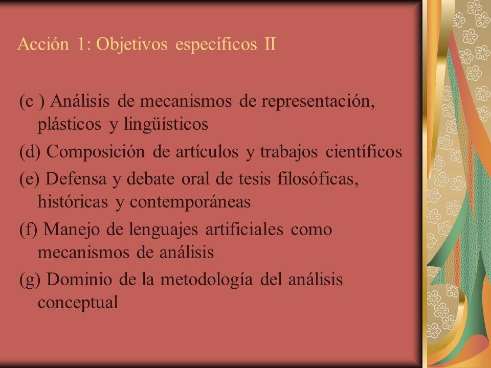 Acción 1: Objetivos específicos II (c ) Análisis de mecanismos de representación, plásticos y lingüísticos (d) Composición de artículos y trabajos cie