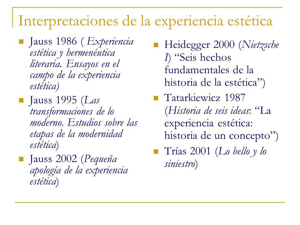 Interpretaciones de la experiencia estética Jauss 1986 ( Experiencia estética y hermenéutica literaria. Ensayos en el campo de la experiencia estética