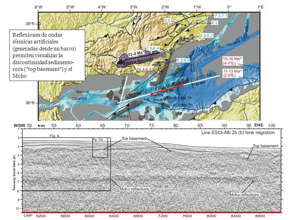 Reflexiones de ondas s í smicas artificiales (generadas desde un barco) permiten visualizar la discontinuidad sedimento- roca (