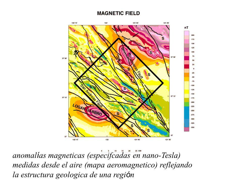 anomal í as magneticas (especifcadas en nano-Tesla) medidas desde el aire (mapa aeromagnetico) reflejando la estructura geologica de una regi ó n