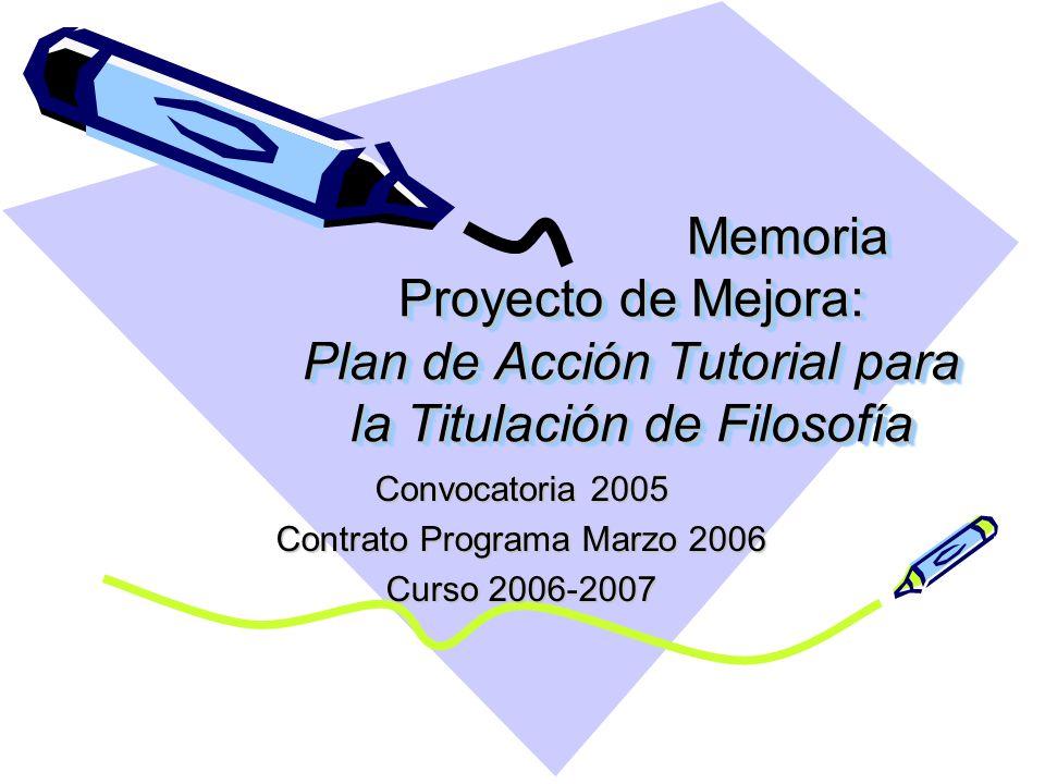Memoria Proyecto de Mejora: Plan de Acción Tutorial para la Titulación de Filosofía Convocatoria 2005 Contrato Programa Marzo 2006 Curso 2006-2007