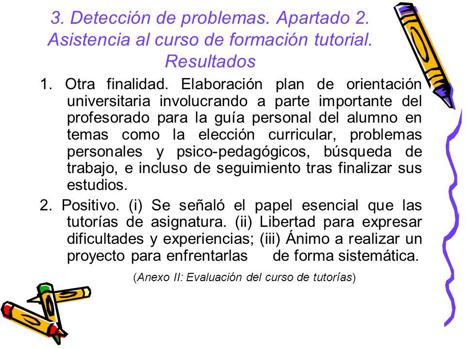 3.Detección de problemas. Apartado 2. Asistencia al curso de formación tutorial.