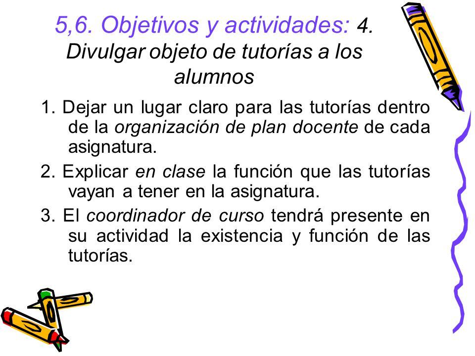 5,6.Objetivos y actividades: 4. Divulgar objeto de tutorías a los alumnos 1.