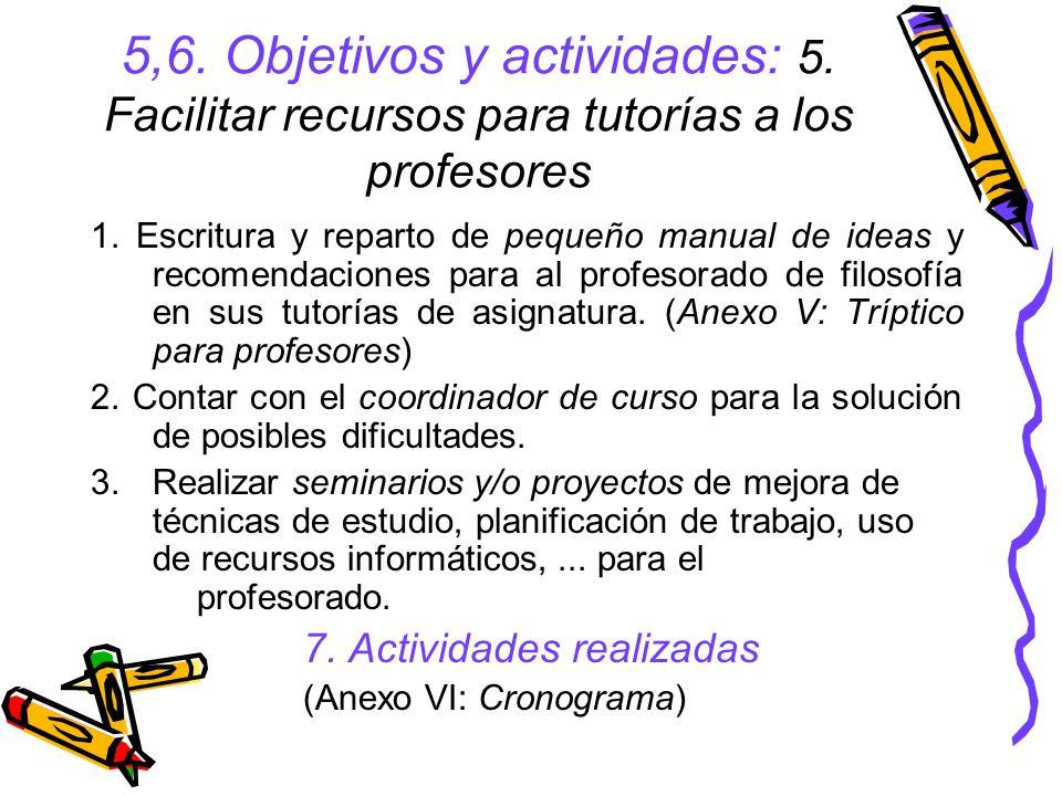 5,6.Objetivos y actividades: 5. Facilitar recursos para tutorías a los profesores 1.