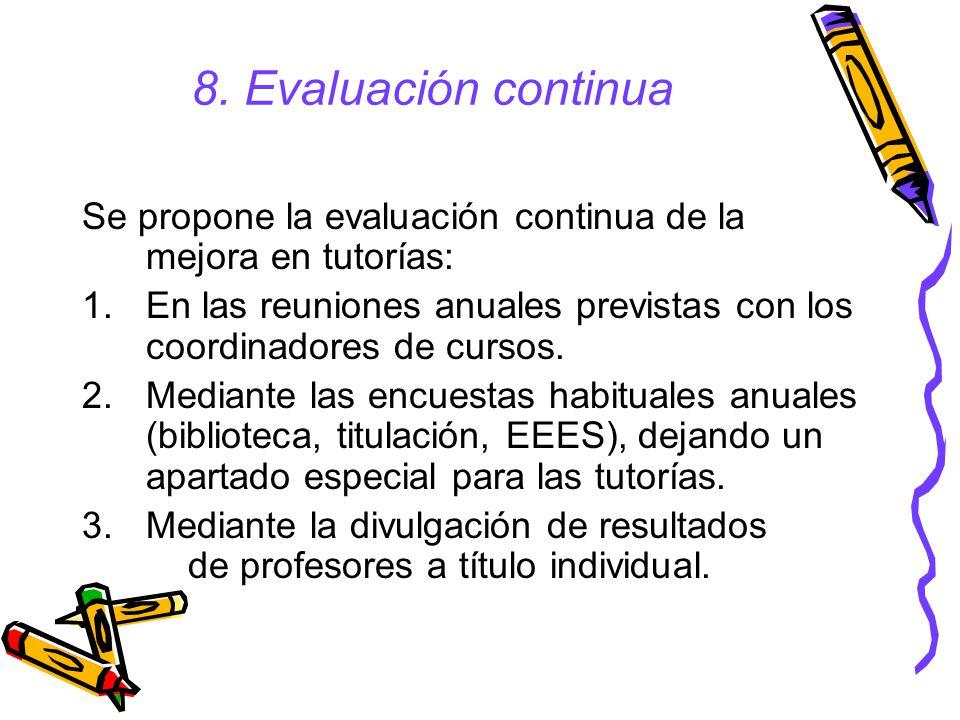 8.Evaluación continua Se propone la evaluación continua de la mejora en tutorías: 1.