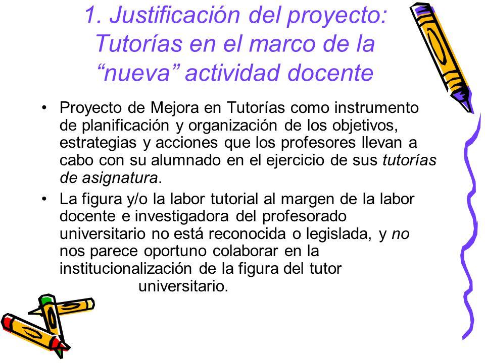 1. Justificación del proyecto: Tutorías en el marco de la nueva actividad docente Proyecto de Mejora en Tutorías como instrumento de planificación y o