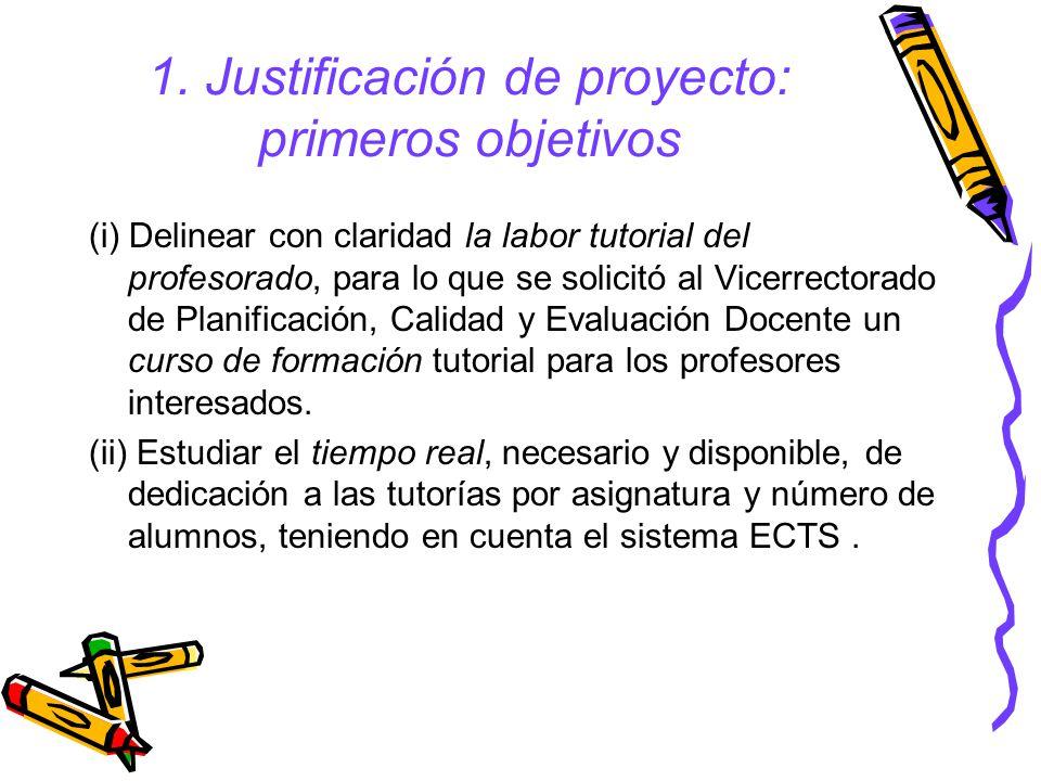 1. Justificación de proyecto: primeros objetivos (i) Delinear con claridad la labor tutorial del profesorado, para lo que se solicitó al Vicerrectorad