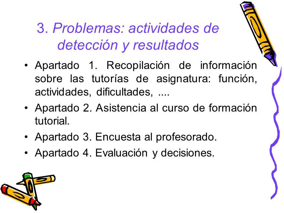 3.Problemas: actividades de detección y resultados Apartado 1.