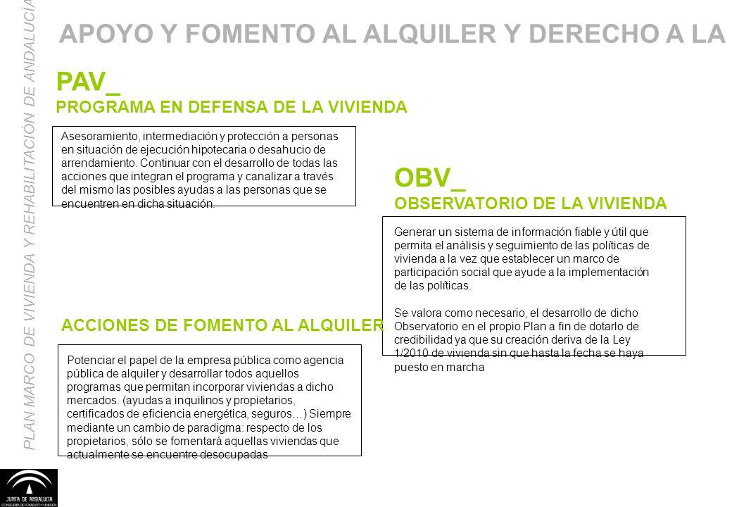 PAV_ PROGRAMA EN DEFENSA DE LA VIVIENDA PLAN MARCO DE VIVIENDA Y REHABILITACIÓN DE ANDALUCÍA Asesoramiento, intermediación y protección a personas en