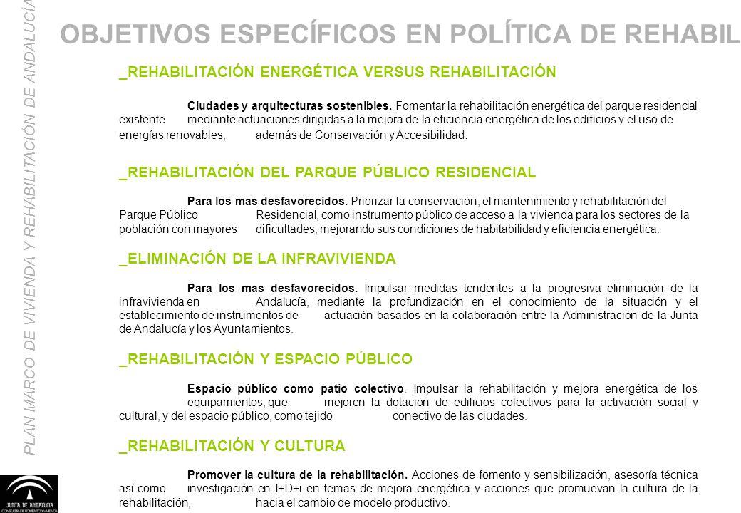 PLAN MARCO DE VIVIENDA Y REHABILITACIÓN DE ANDALUCÍA _REHABILITACIÓN ENERGÉTICA VERSUS REHABILITACIÓN Ciudades y arquitecturas sostenibles. Fomentar l