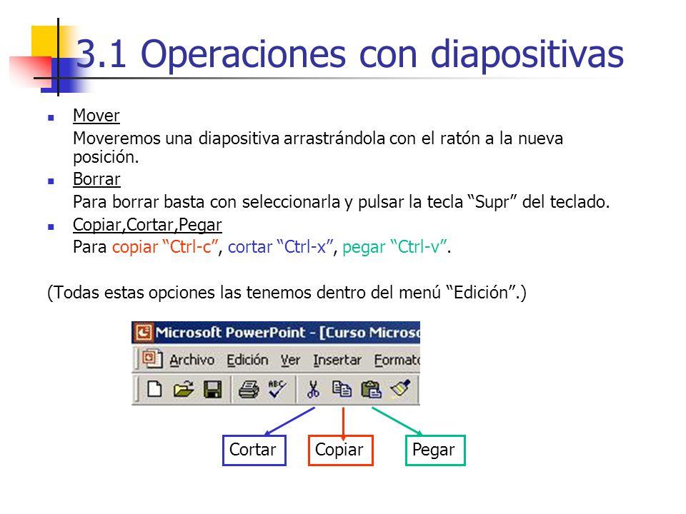3.1 Operaciones con diapositivas Mover Moveremos una diapositiva arrastrándola con el ratón a la nueva posición. Borrar Para borrar basta con seleccio