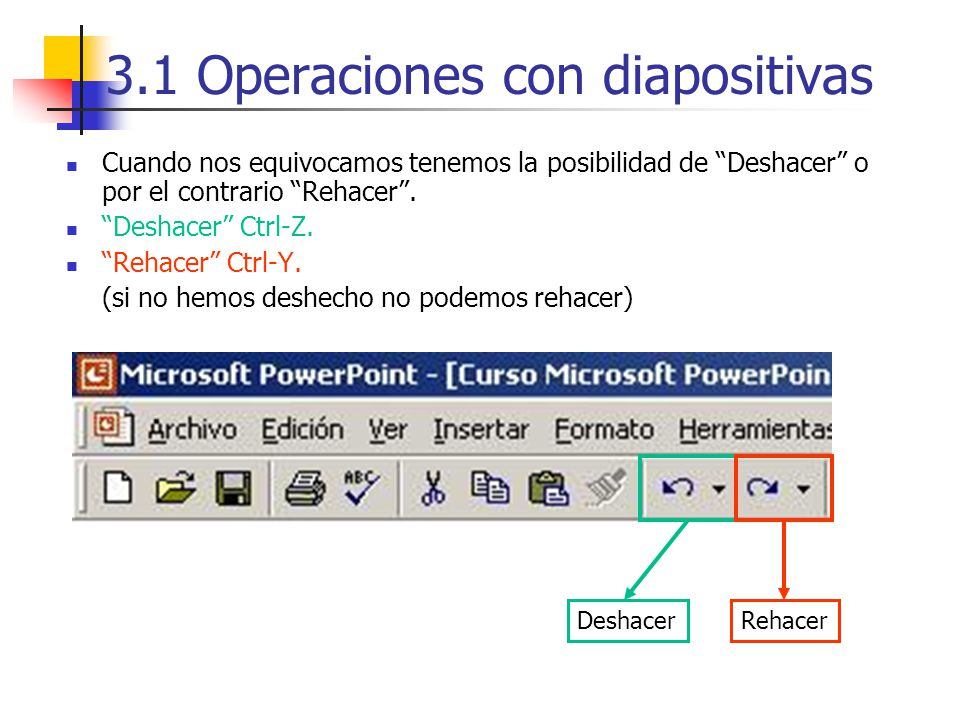 3.1 Operaciones con diapositivas Cuando nos equivocamos tenemos la posibilidad de Deshacer o por el contrario Rehacer. Deshacer Ctrl-Z. Rehacer Ctrl-Y