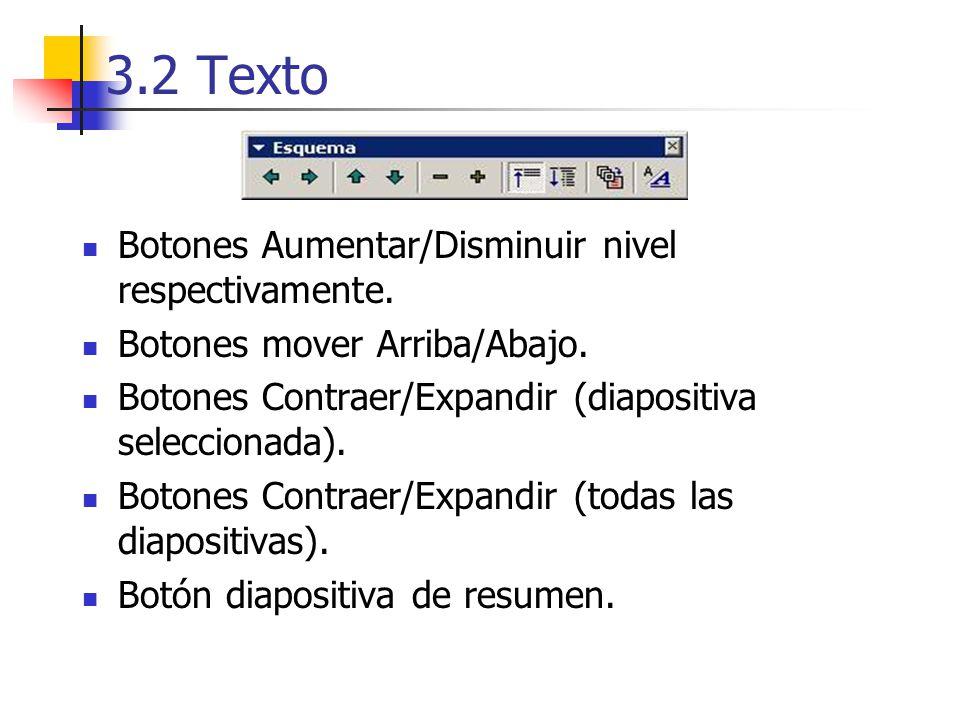 3.2 Texto Botones Aumentar/Disminuir nivel respectivamente. Botones mover Arriba/Abajo. Botones Contraer/Expandir (diapositiva seleccionada). Botones