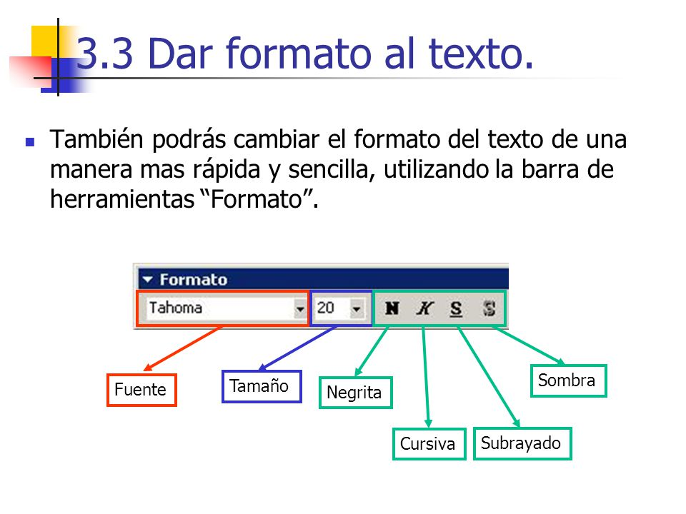 3.3 Dar formato al texto. También podrás cambiar el formato del texto de una manera mas rápida y sencilla, utilizando la barra de herramientas Formato