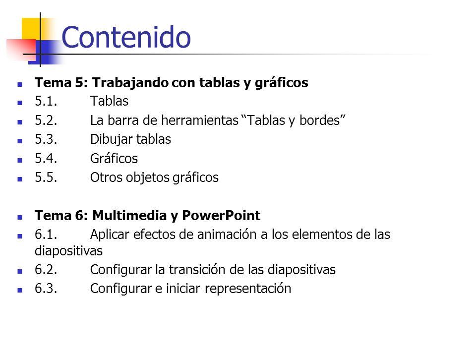 Contenido Tema 5: Trabajando con tablas y gráficos 5.1. Tablas 5.2. La barra de herramientas Tablas y bordes 5.3. Dibujar tablas 5.4. Gráficos 5.5. Ot