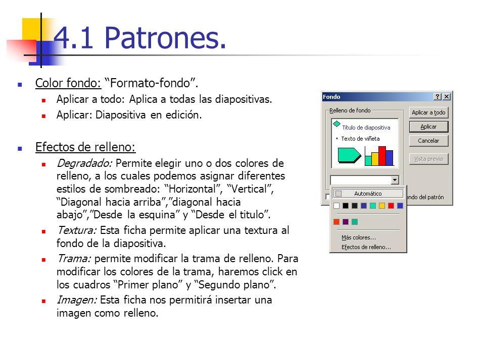 4.1 Patrones. Color fondo: Formato-fondo. Aplicar a todo: Aplica a todas las diapositivas. Aplicar: Diapositiva en edición. Efectos de relleno: Degrad