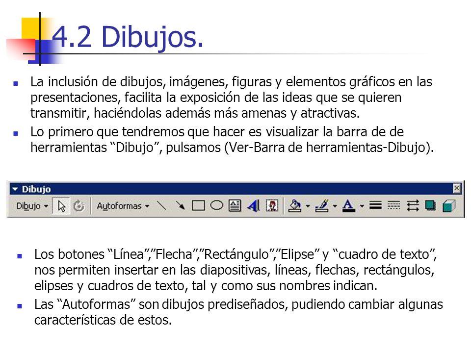 4.2 Dibujos. La inclusión de dibujos, imágenes, figuras y elementos gráficos en las presentaciones, facilita la exposición de las ideas que se quieren