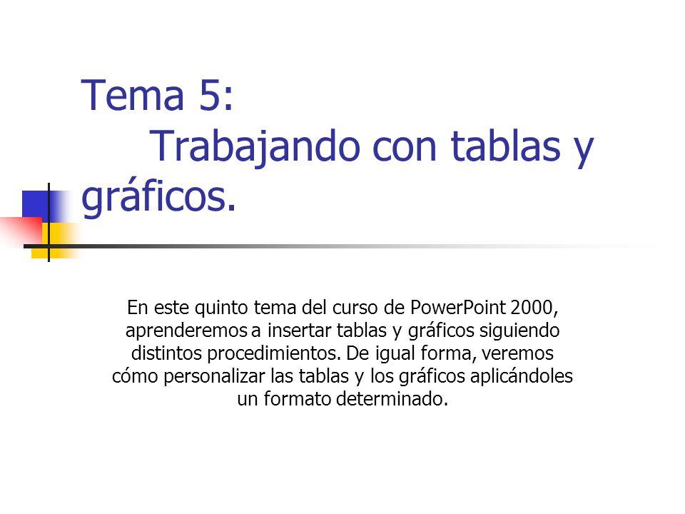Tema 5: Trabajando con tablas y gráficos. En este quinto tema del curso de PowerPoint 2000, aprenderemos a insertar tablas y gráficos siguiendo distin