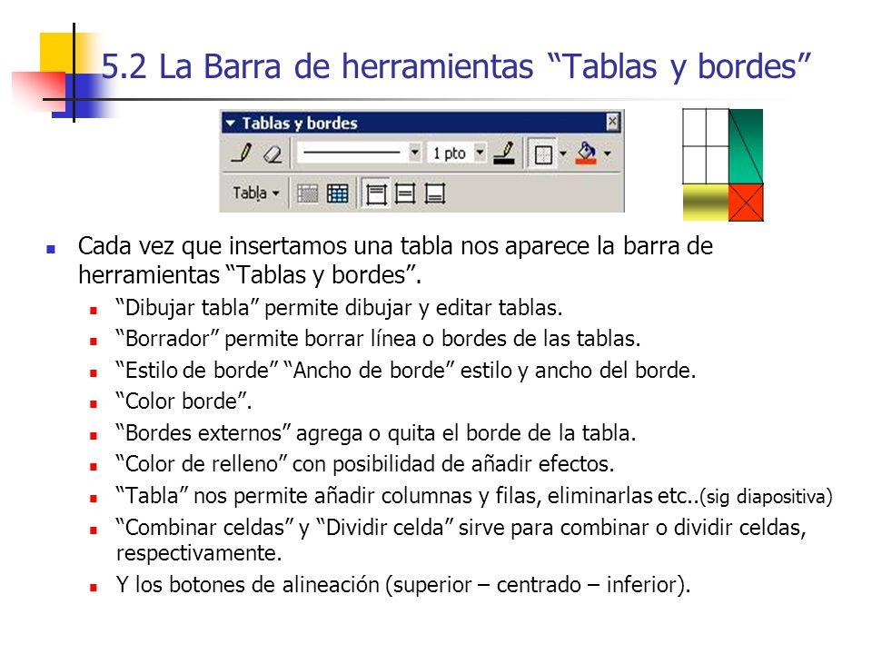 5.2 La Barra de herramientas Tablas y bordes Cada vez que insertamos una tabla nos aparece la barra de herramientas Tablas y bordes. Dibujar tabla per