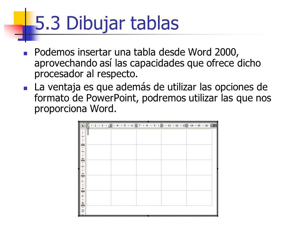 5.3 Dibujar tablas Podemos insertar una tabla desde Word 2000, aprovechando así las capacidades que ofrece dicho procesador al respecto. La ventaja es