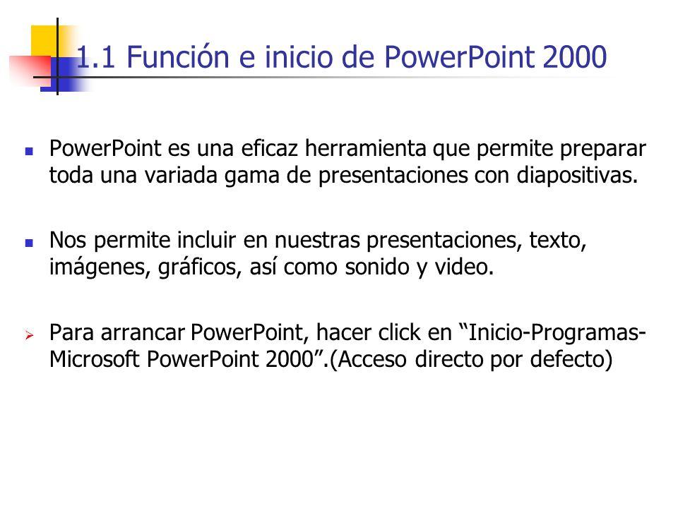 1.1 Función e inicio de PowerPoint 2000 PowerPoint es una eficaz herramienta que permite preparar toda una variada gama de presentaciones con diaposit