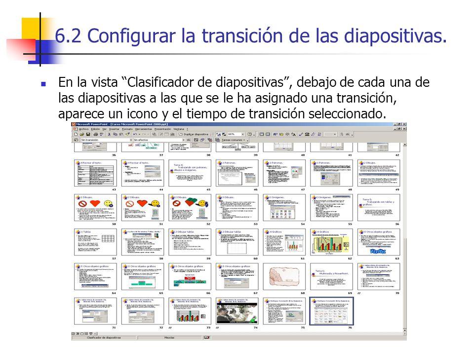 6.2 Configurar la transición de las diapositivas. En la vista Clasificador de diapositivas, debajo de cada una de las diapositivas a las que se le ha