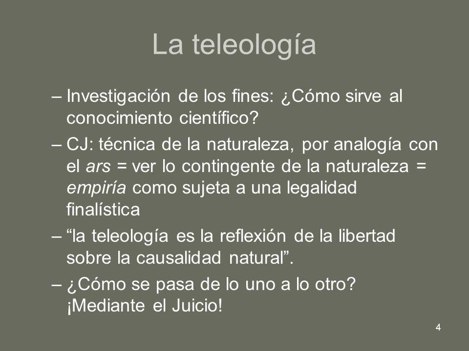 4 La teleología –Investigación de los fines: ¿Cómo sirve al conocimiento científico? –CJ: técnica de la naturaleza, por analogía con el ars = ver lo c