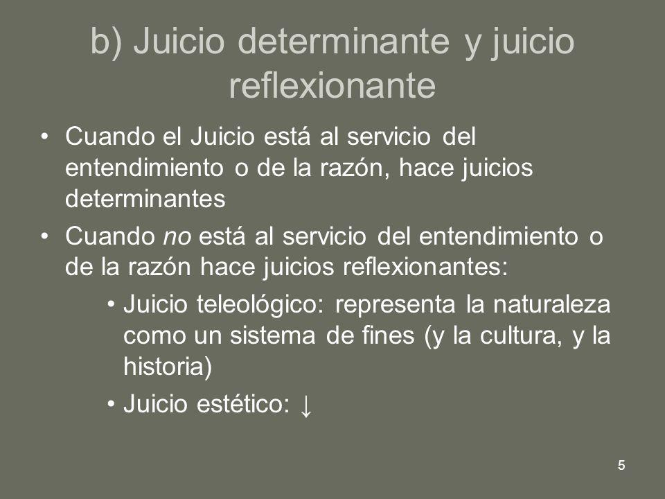 5 b) Juicio determinante y juicio reflexionante Cuando el Juicio está al servicio del entendimiento o de la razón, hace juicios determinantes Cuando n