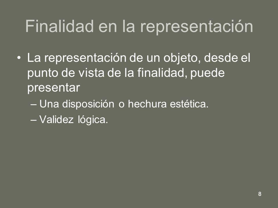 8 Finalidad en la representación La representación de un objeto, desde el punto de vista de la finalidad, puede presentar –Una disposición o hechura e