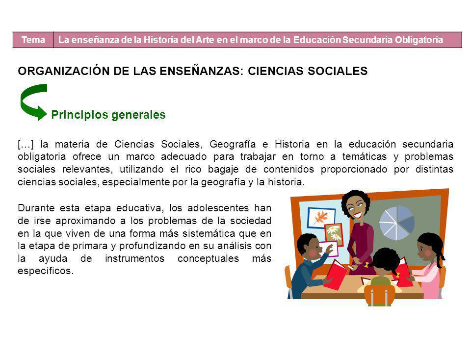 Tema La enseñanza de la Historia del Arte en el marco de la Educación Secundaria Obligatoria ORGANIZACIÓN DE LAS ENSEÑANZAS: CIENCIAS SOCIALES Princip