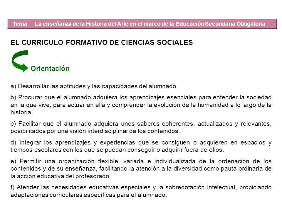 Tema La enseñanza de la Historia del Arte en el marco de la Educación Secundaria Obligatoria EL CURRICULO FORMATIVO DE CIENCIAS SOCIALES Orientación a