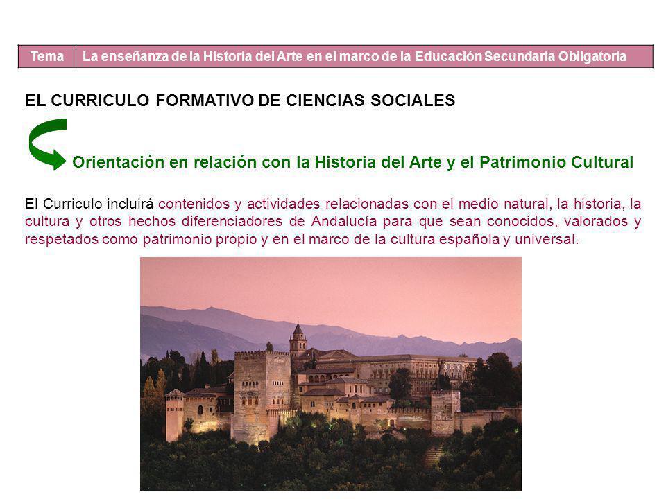 Tema La enseñanza de la Historia del Arte en el marco de la Educación Secundaria Obligatoria EL CURRICULO FORMATIVO DE CIENCIAS SOCIALES Orientación e