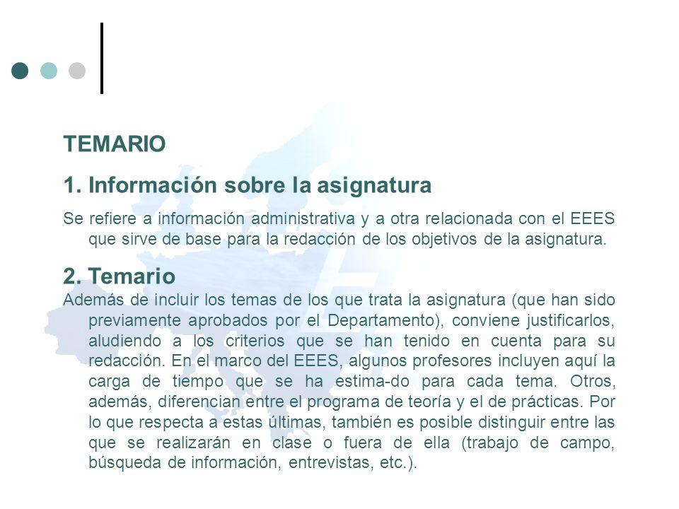 TEMARIO 1.Información sobre la asignatura Se refiere a información administrativa y a otra relacionada con el EEES que sirve de base para la redacción