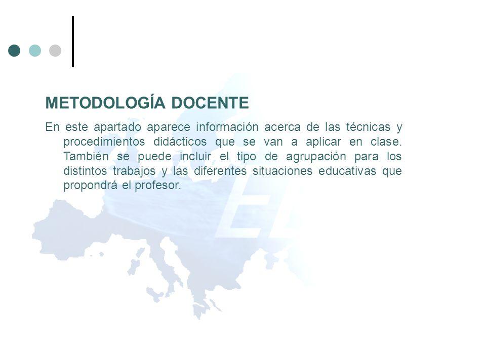 METODOLOGÍA DOCENTE En este apartado aparece información acerca de las técnicas y procedimientos didácticos que se van a aplicar en clase. También se