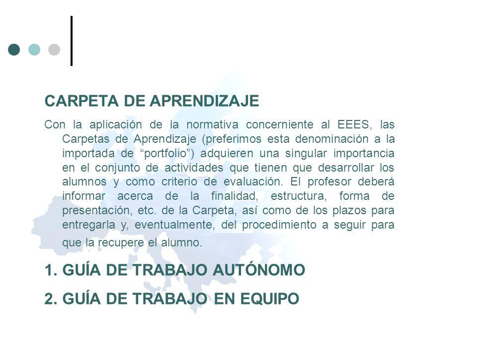 CARPETA DE APRENDIZAJE Con la aplicación de la normativa concerniente al EEES, las Carpetas de Aprendizaje (preferimos esta denominación a la importad