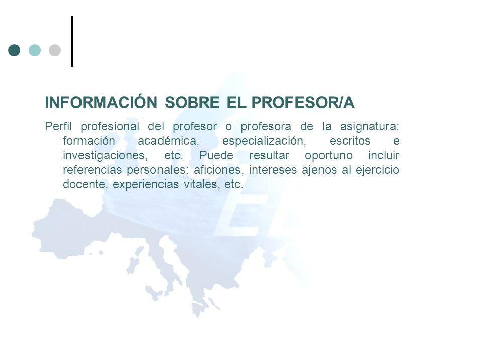 INFORMACIÓN SOBRE EL PROFESOR/A Perfil profesional del profesor o profesora de la asignatura: formación académica, especialización, escritos e investi
