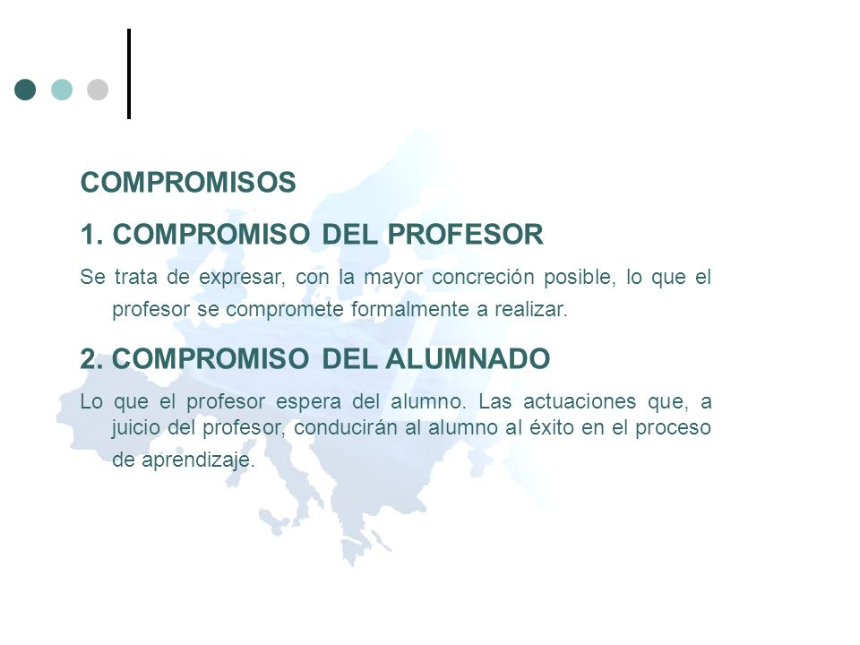 COMPROMISOS 1.COMPROMISO DEL PROFESOR Se trata de expresar, con la mayor concreción posible, lo que el profesor se compromete formalmente a realizar.