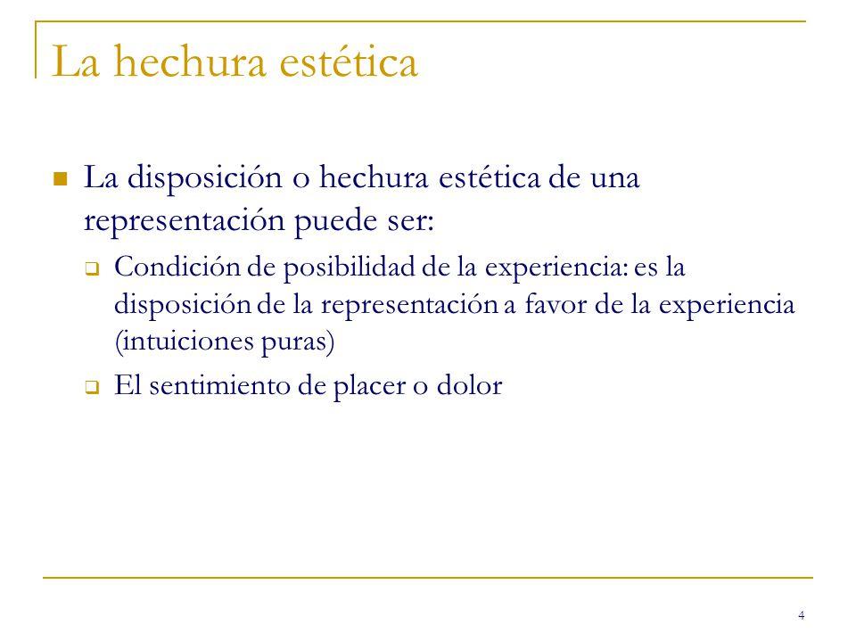 4 La hechura estética La disposición o hechura estética de una representación puede ser: Condición de posibilidad de la experiencia: es la disposición de la representación a favor de la experiencia (intuiciones puras) El sentimiento de placer o dolor
