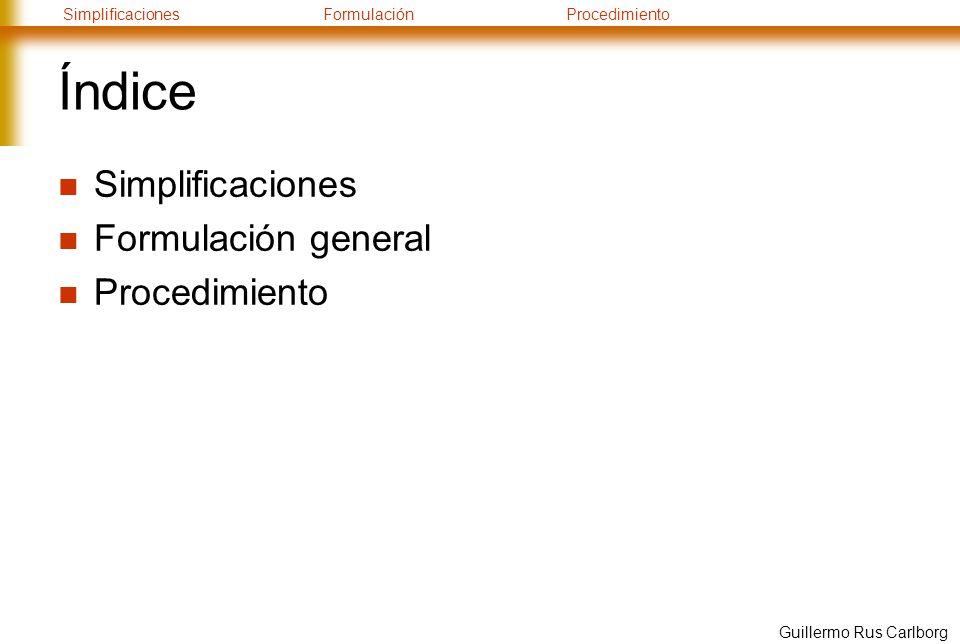 SimplificacionesFormulaciónProcedimiento Guillermo Rus Carlborg Índice Simplificaciones Formulación general Procedimiento