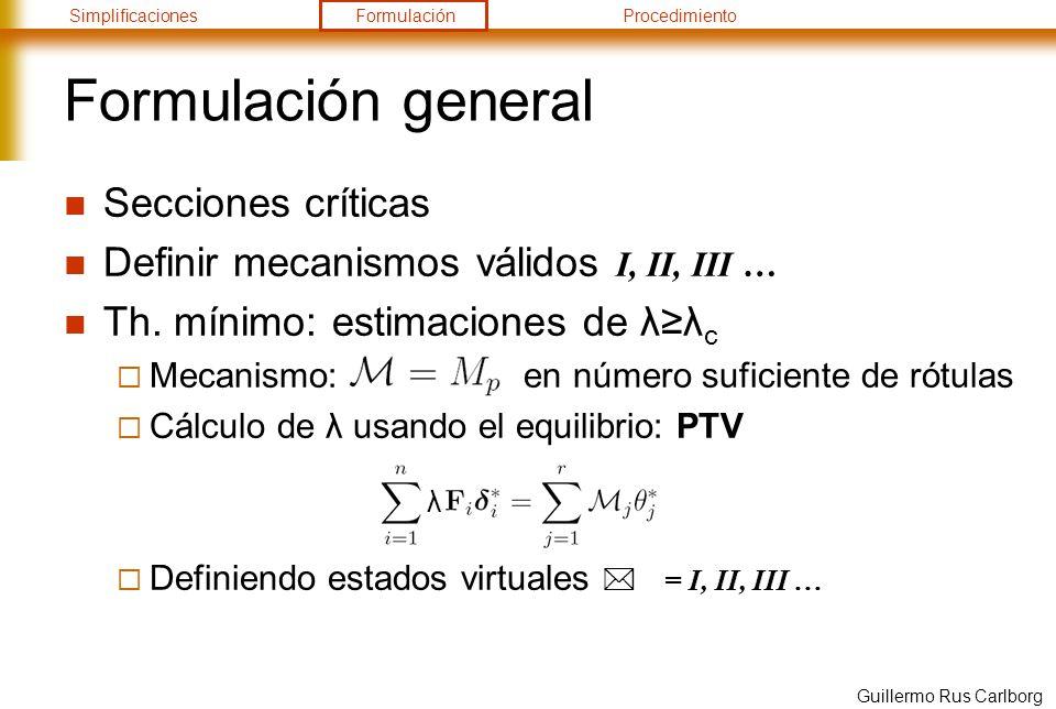 SimplificacionesFormulaciónProcedimiento Guillermo Rus Carlborg Formulación general Secciones críticas Definir mecanismos válidos I, II, III … Th. mín