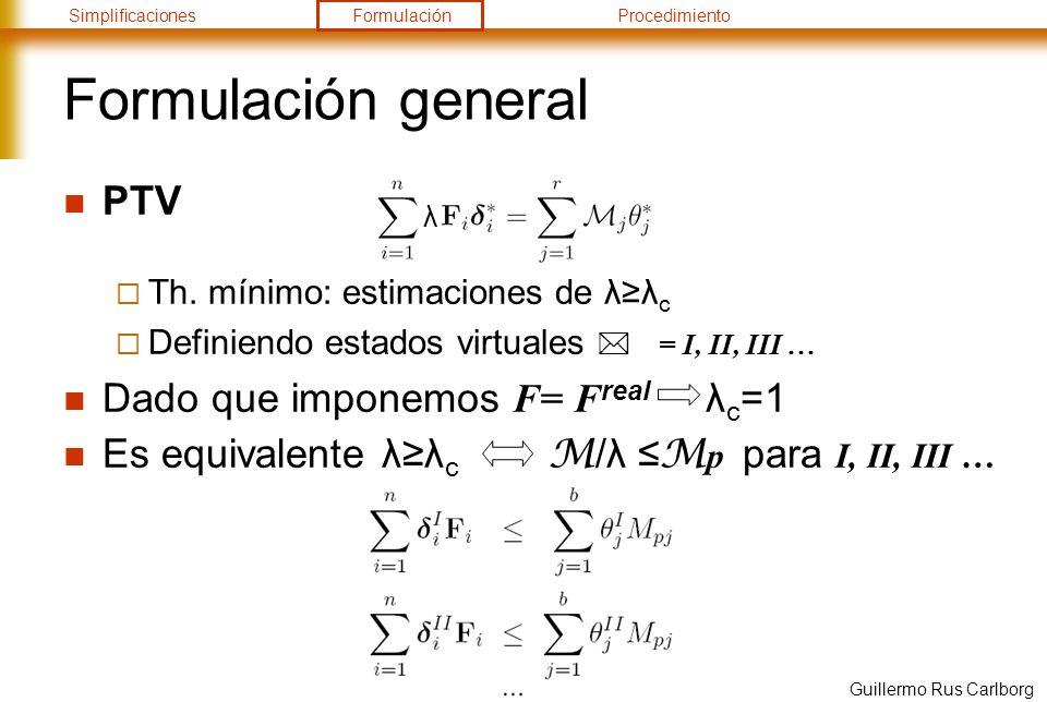 SimplificacionesFormulaciónProcedimiento Guillermo Rus Carlborg Formulación general PTV Th. mínimo: estimaciones de λλ c Definiendo estados virtuales