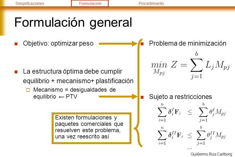 SimplificacionesFormulaciónProcedimiento Guillermo Rus Carlborg Formulación general Objetivo: optimizar peso La estructura óptima debe cumplir equilib
