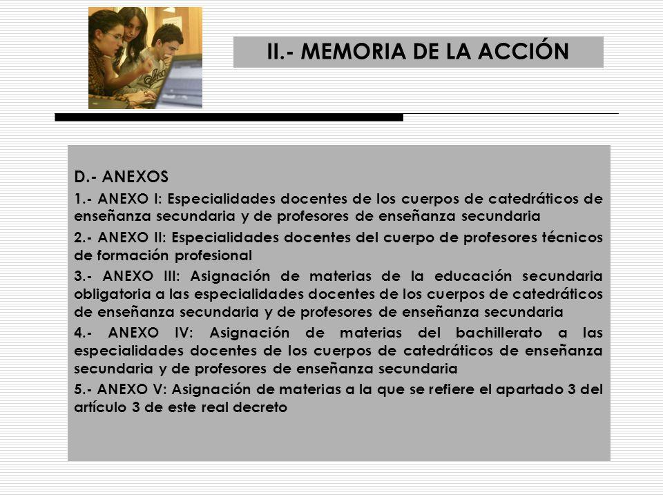 II.- MEMORIA DE LA ACCIÓN D.- ANEXOS 1.- ANEXO I: Especialidades docentes de los cuerpos de catedráticos de enseñanza secundaria y de profesores de en