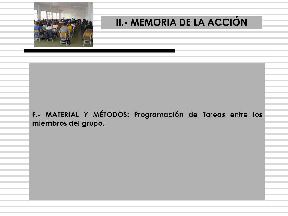 II.- MEMORIA DE LA ACCIÓN F.- MATERIAL Y MÉTODOS: Programación de Tareas entre los miembros del grupo.