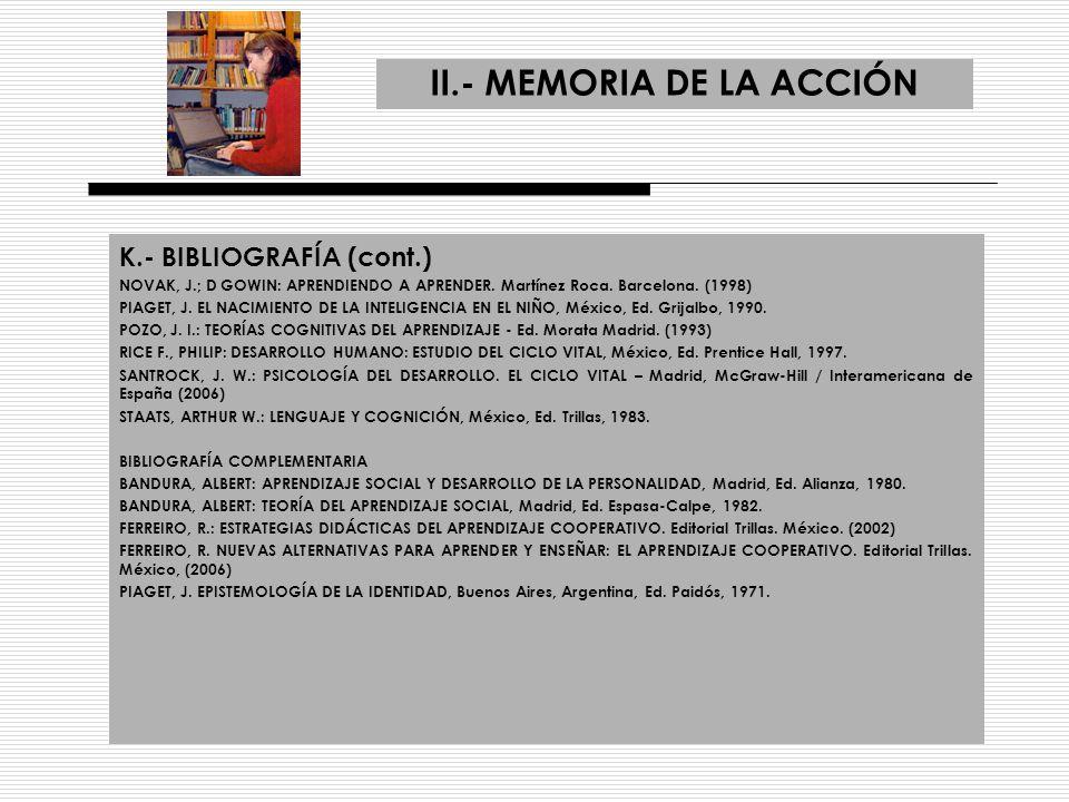 II.- MEMORIA DE LA ACCIÓN K.- BIBLIOGRAFÍA (cont.) NOVAK, J.; D GOWIN: APRENDIENDO A APRENDER. Martínez Roca. Barcelona. (1998) PIAGET, J. EL NACIMIEN